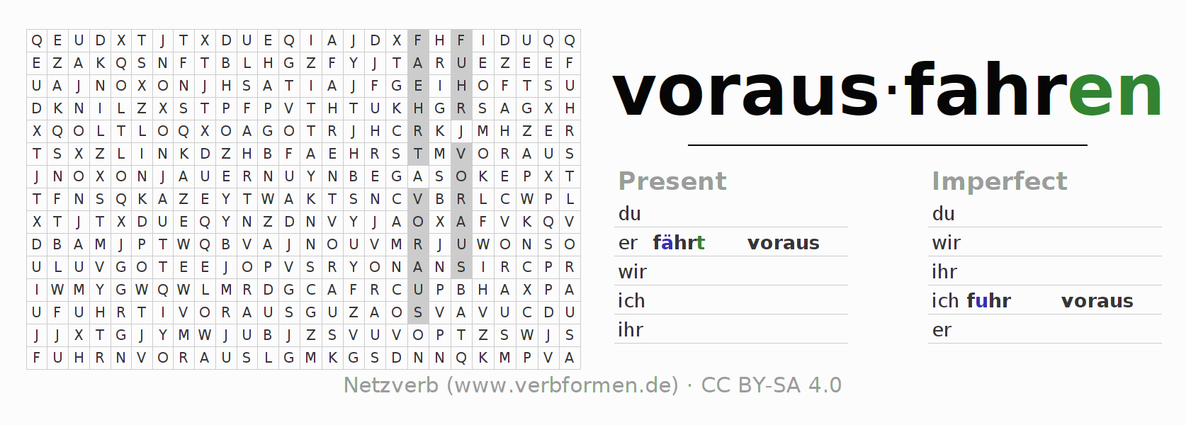 Word search puzzle for the conjugation of the verb vorausfahren