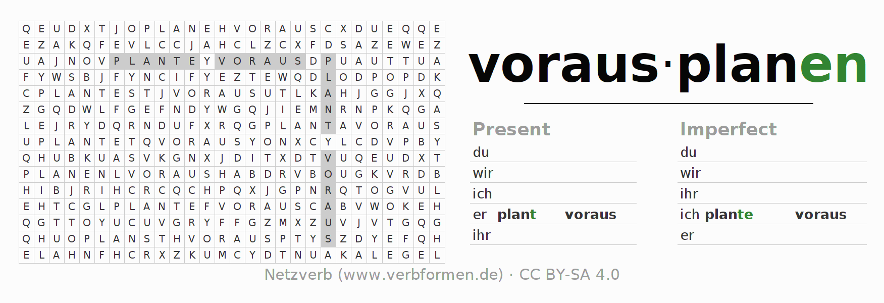 Word search puzzle for the conjugation of the verb vorausplanen