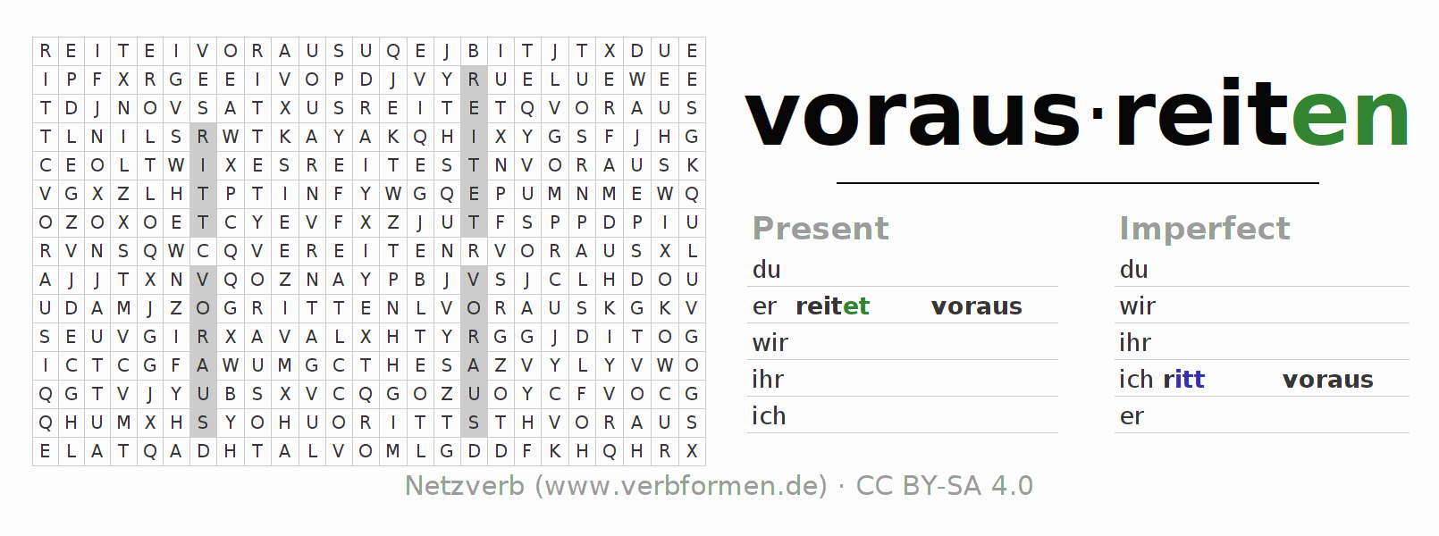 Word search puzzle for the conjugation of the verb vorausreiten