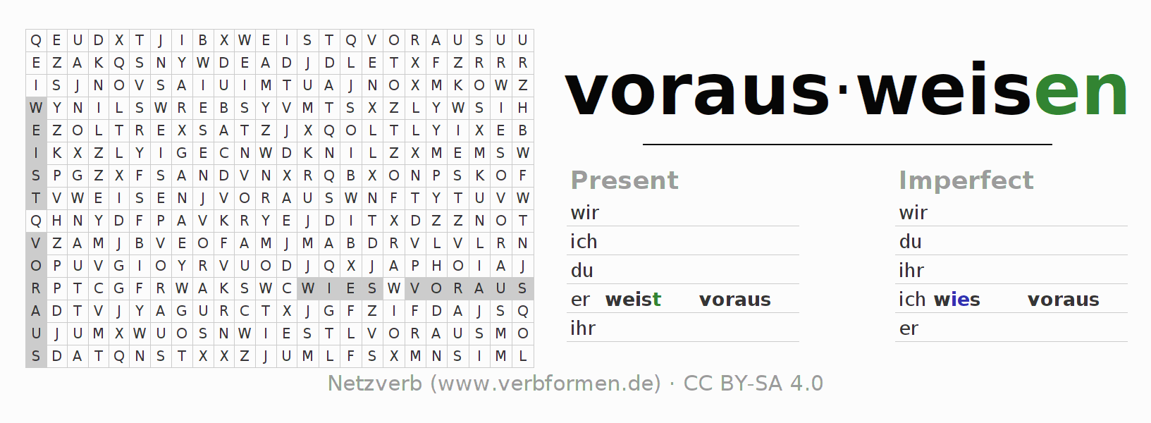 Word search puzzle for the conjugation of the verb vorausweisen