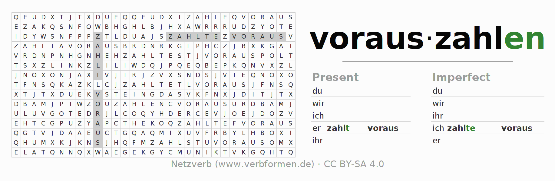 Word search puzzle for the conjugation of the verb vorauszahlen