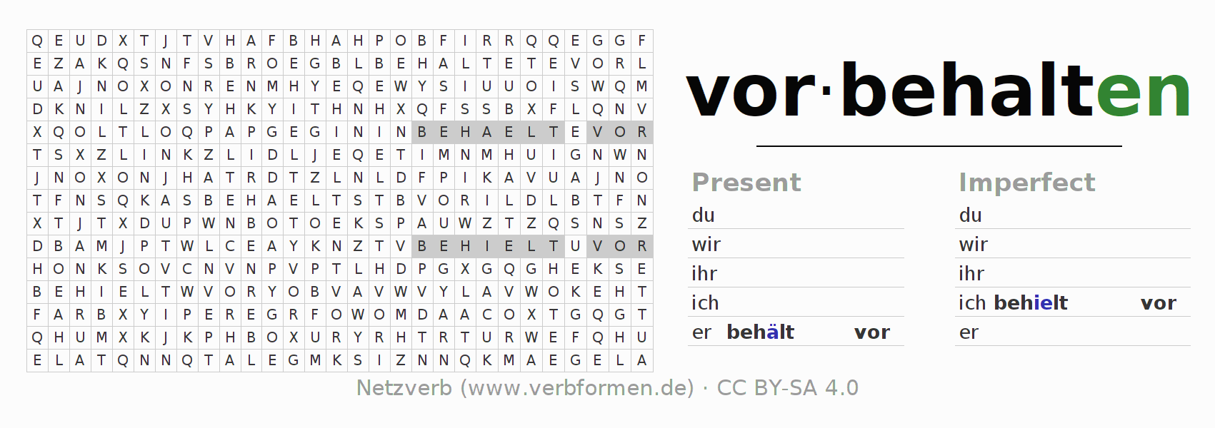 Word search puzzle for the conjugation of the verb vorbehalten