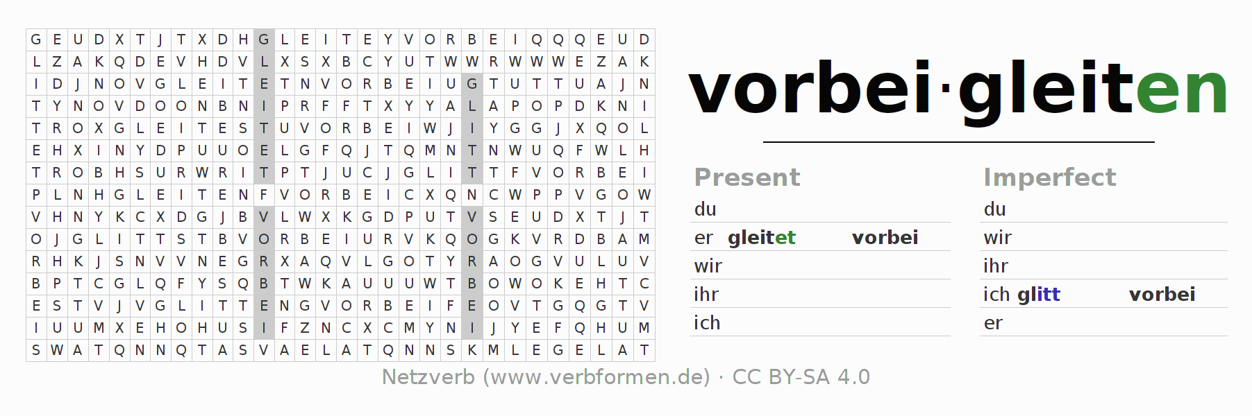Word search puzzle for the conjugation of the verb vorbeigleiten