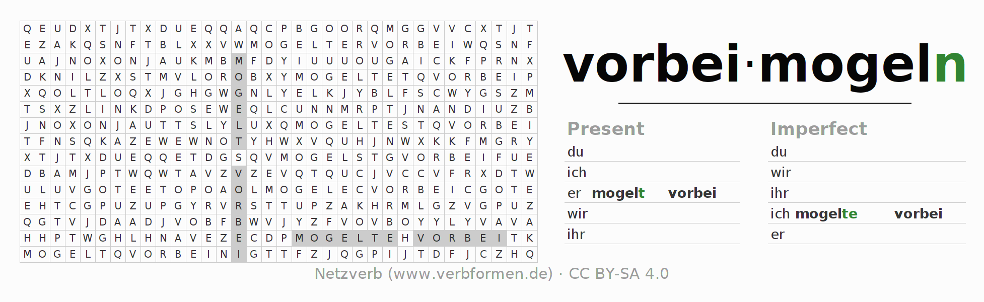 Word search puzzle for the conjugation of the verb vorbeimogeln