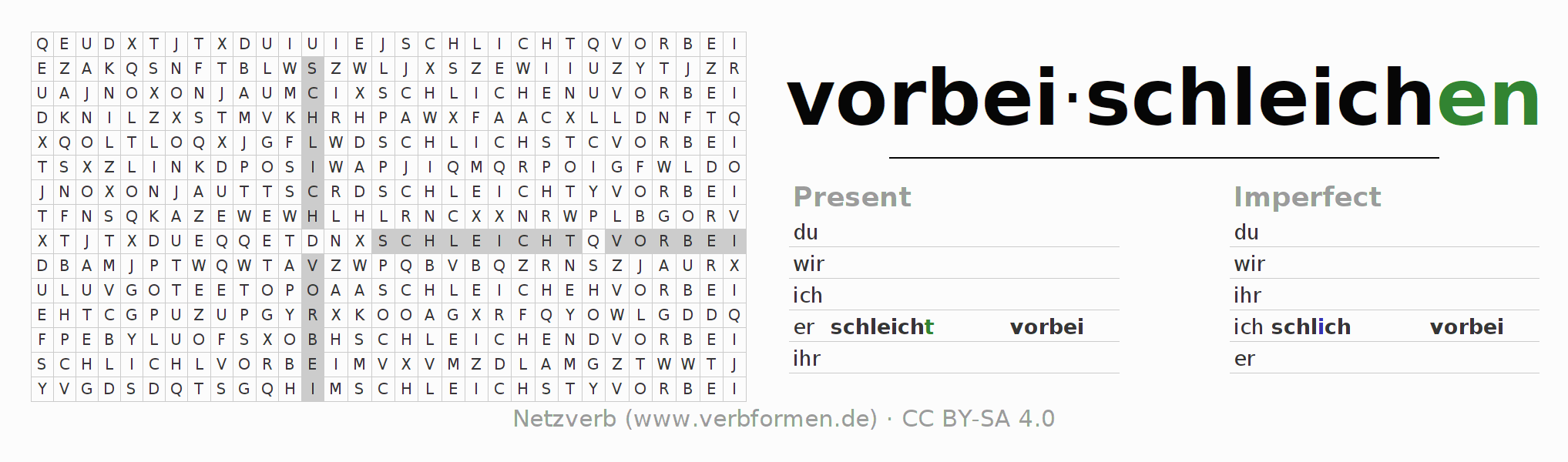 Word search puzzle for the conjugation of the verb vorbeischleichen (hat)