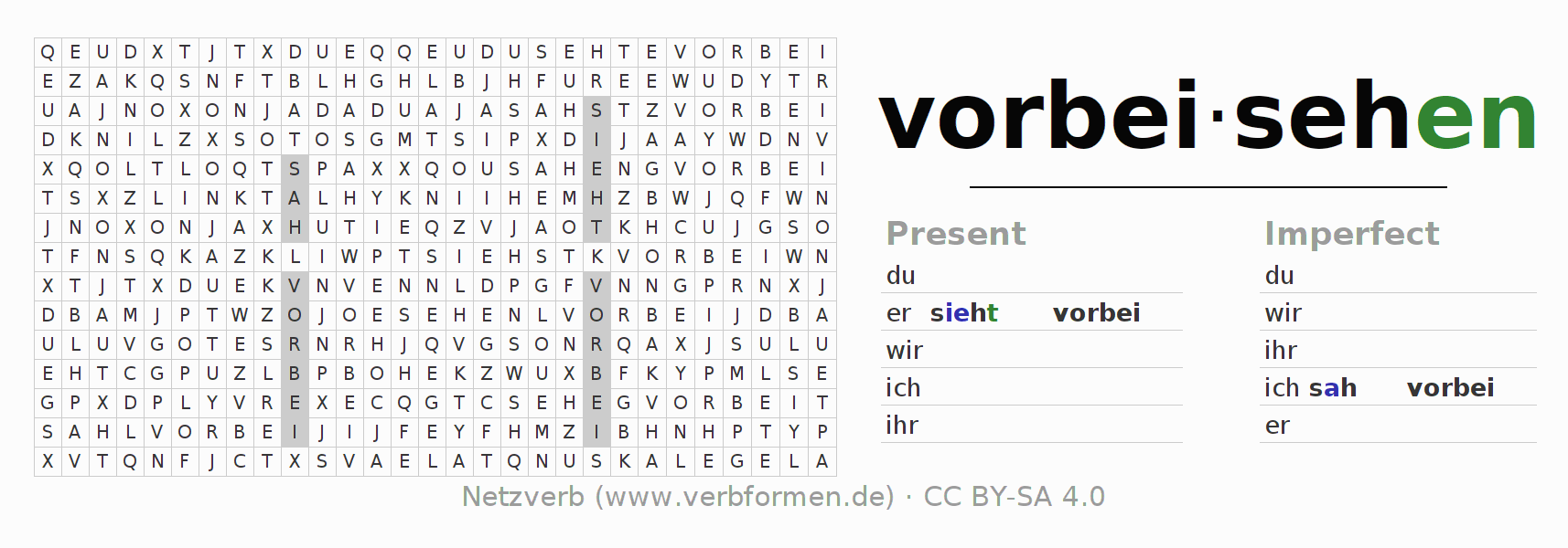 Word search puzzle for the conjugation of the verb vorbeisehen