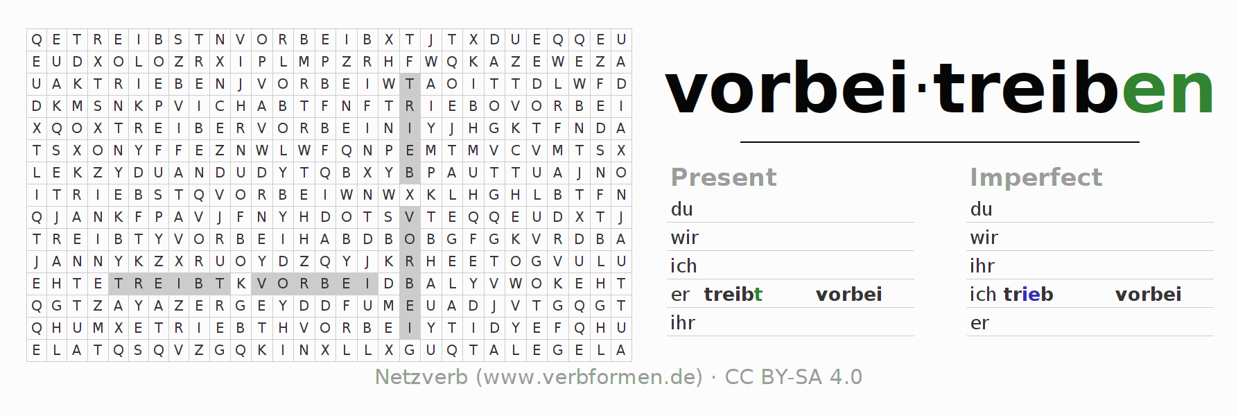 Word search puzzle for the conjugation of the verb vorbeitreiben (ist)