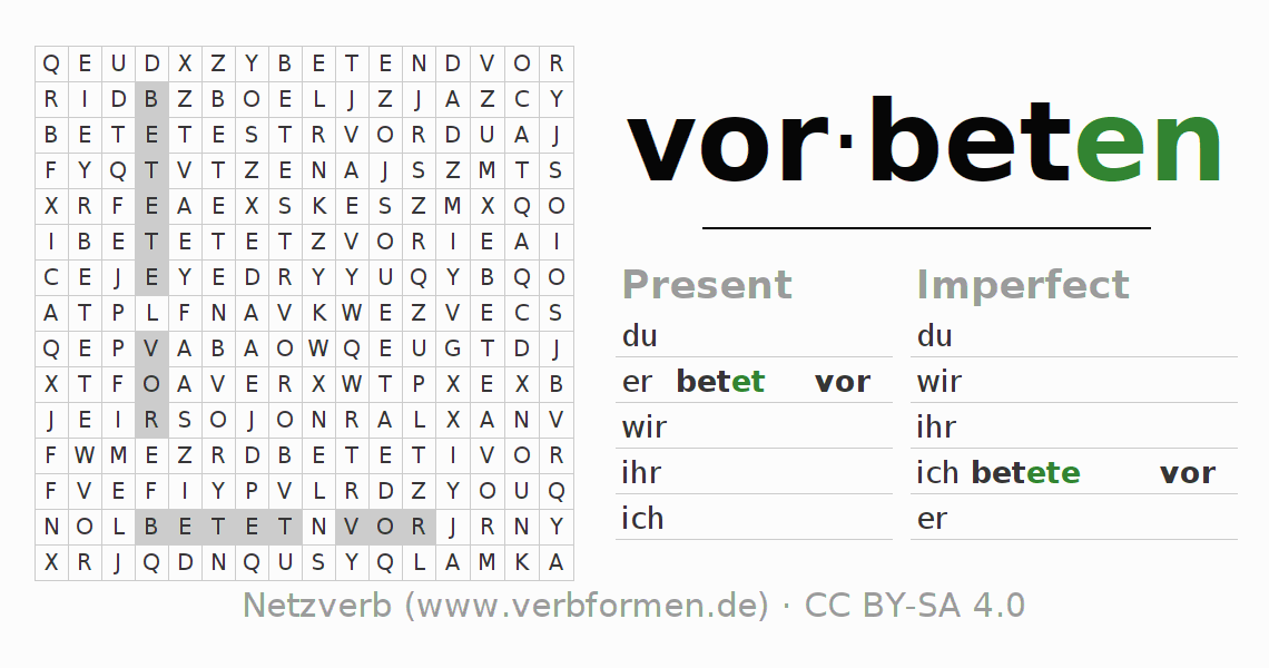 Word search puzzle for the conjugation of the verb vorbeten