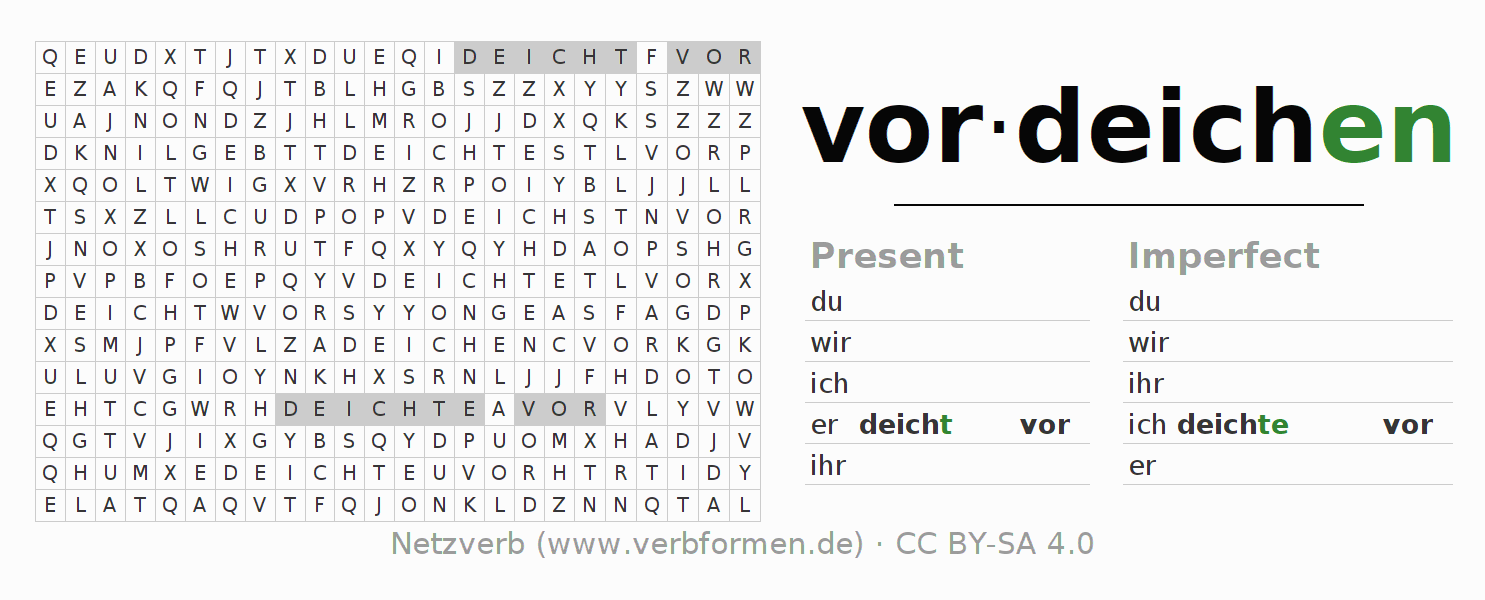 Word search puzzle for the conjugation of the verb vordeichen