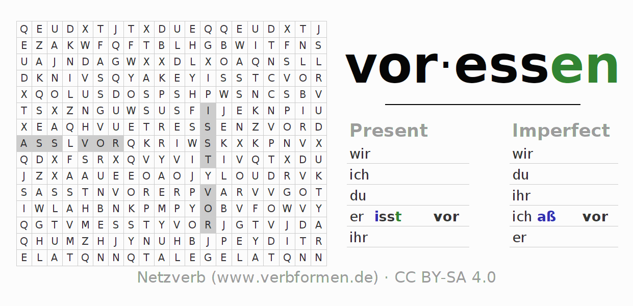 Word search puzzle for the conjugation of the verb voressen