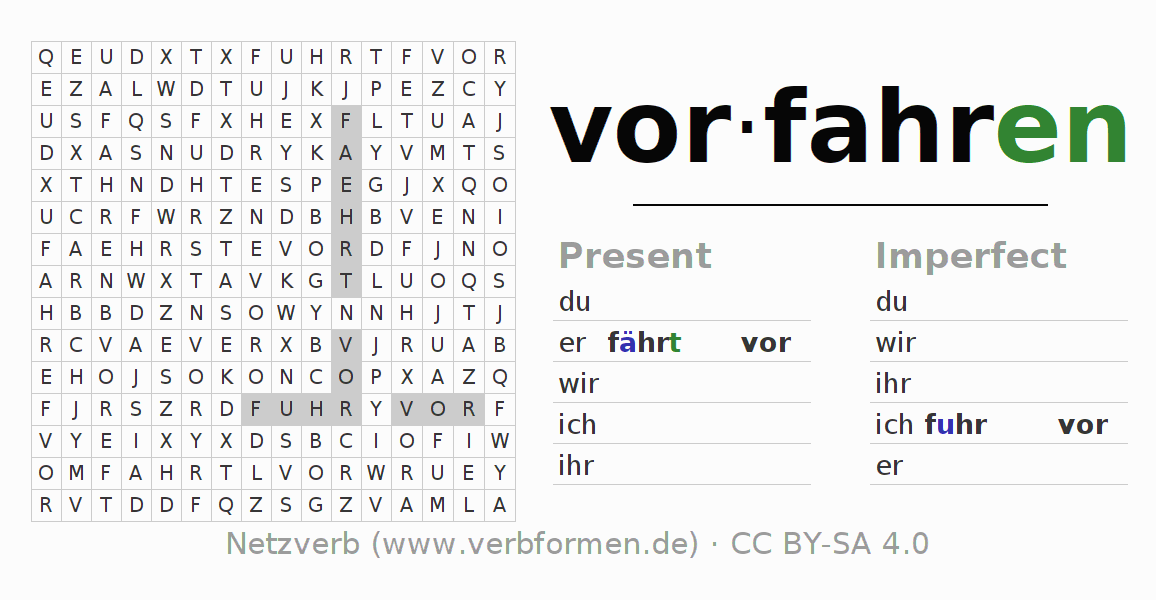 Word search puzzle for the conjugation of the verb vorfahren (hat)