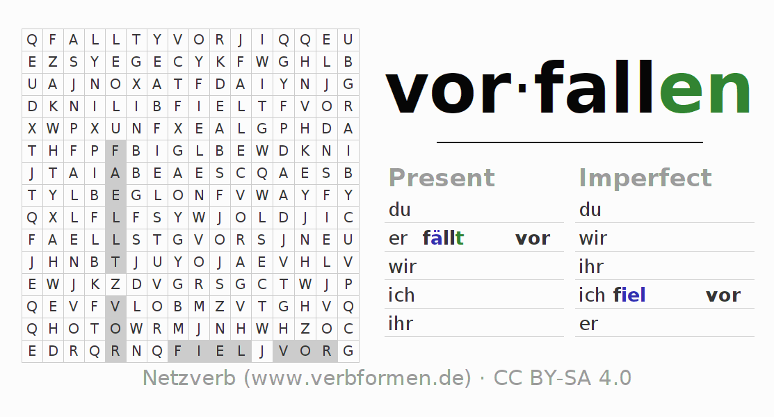 Word search puzzle for the conjugation of the verb vorfallen