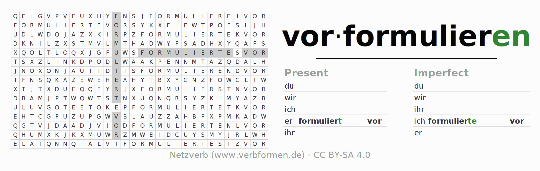 Word search puzzle for the conjugation of the verb vorformulieren