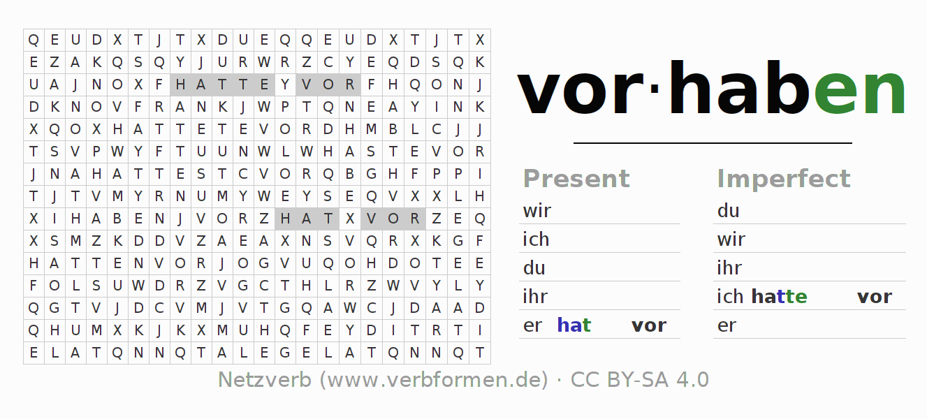 Word search puzzle for the conjugation of the verb vorhaben