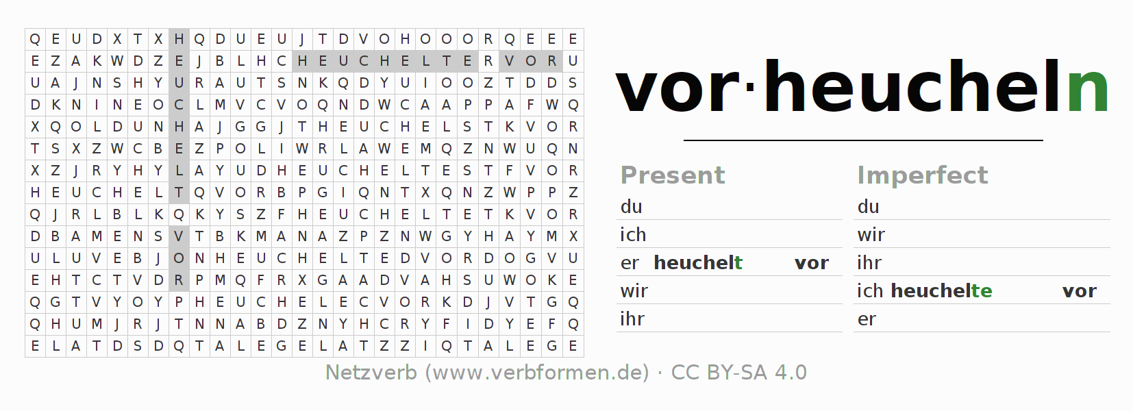 Word search puzzle for the conjugation of the verb vorheucheln