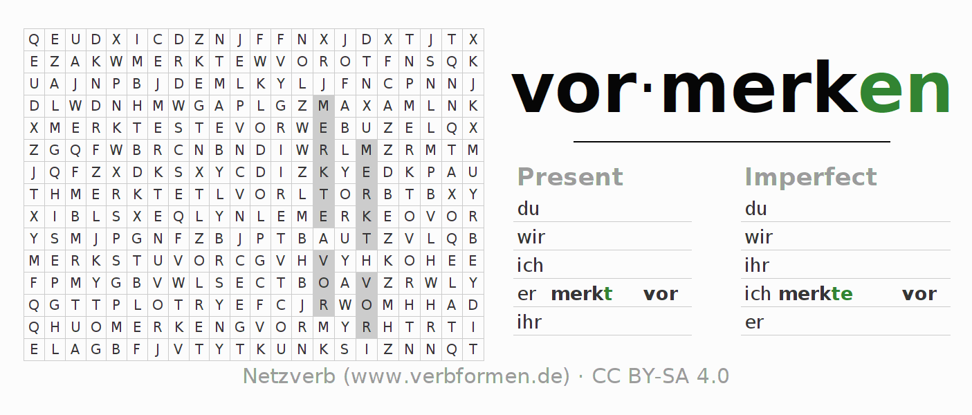 Word search puzzle for the conjugation of the verb vormerken