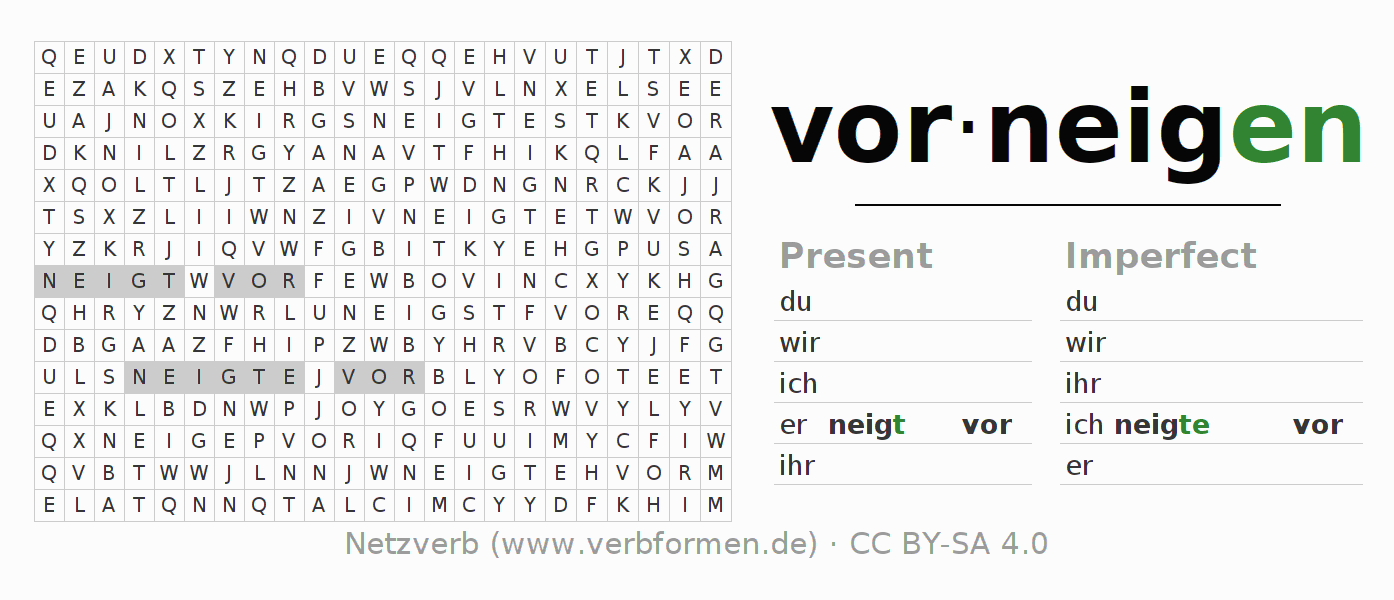 Word search puzzle for the conjugation of the verb vorneigen