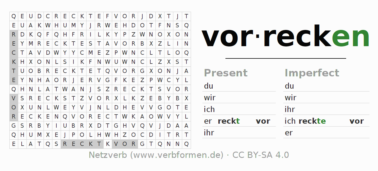 Word search puzzle for the conjugation of the verb vorrecken
