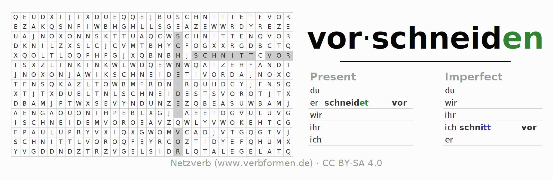 Word search puzzle for the conjugation of the verb vorschneiden
