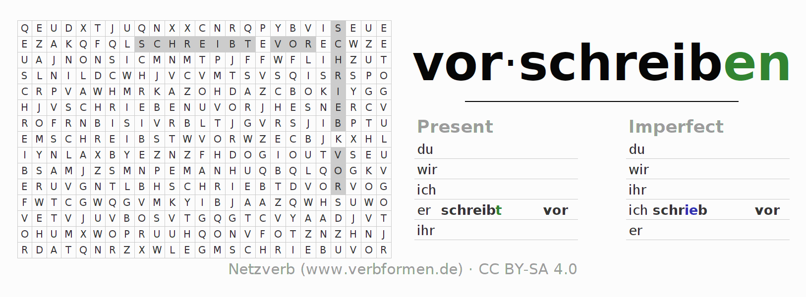 Word search puzzle for the conjugation of the verb vorschreiben