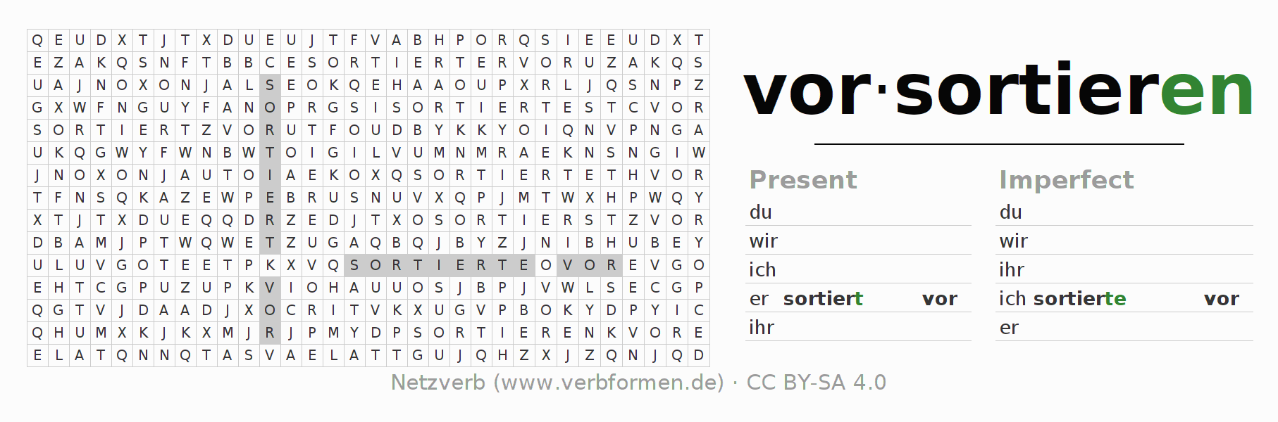 Word search puzzle for the conjugation of the verb vorsortieren