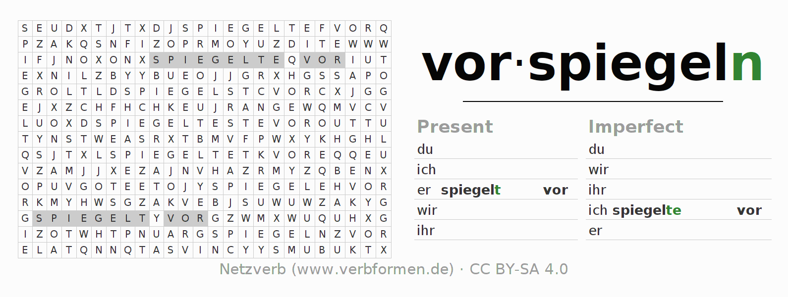 Word search puzzle for the conjugation of the verb vorspiegeln