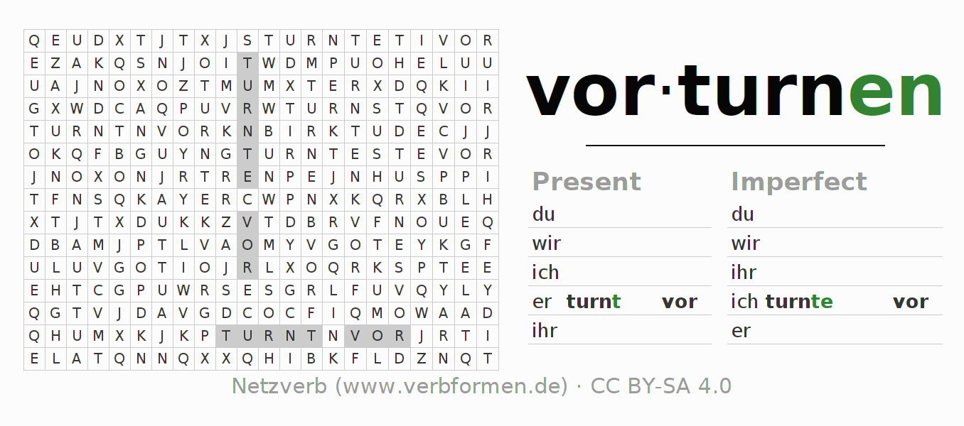 Word search puzzle for the conjugation of the verb vorturnen