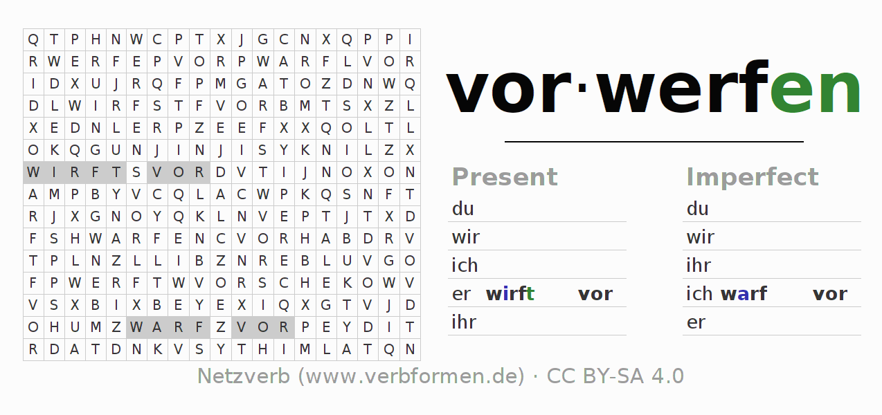 Word search puzzle for the conjugation of the verb vorwerfen