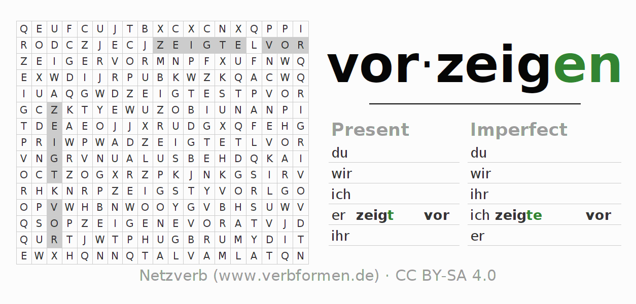 Word search puzzle for the conjugation of the verb vorzeigen