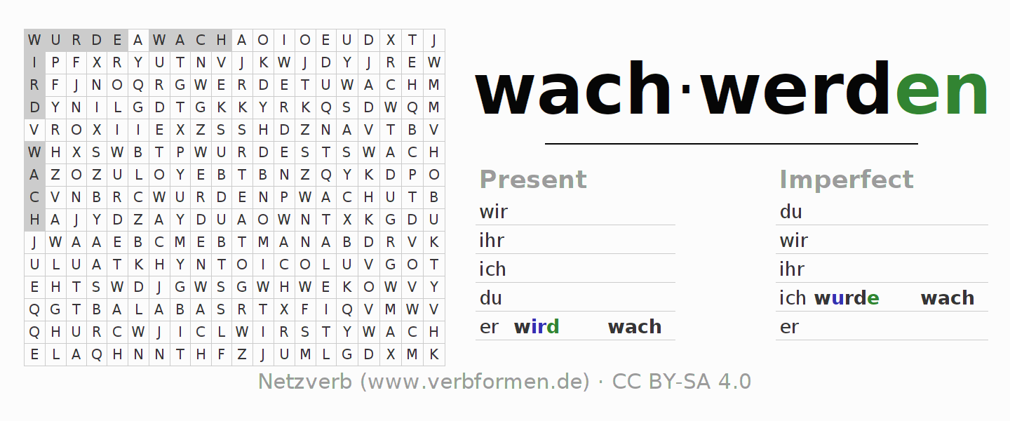 Word search puzzle for the conjugation of the verb wachwerden