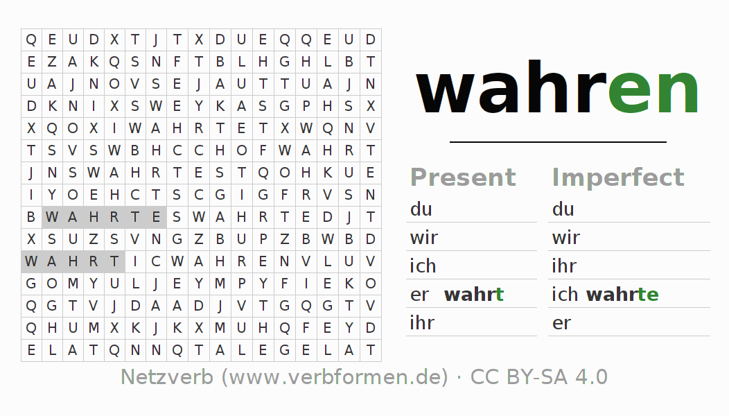 Word search puzzle for the conjugation of the verb wahren