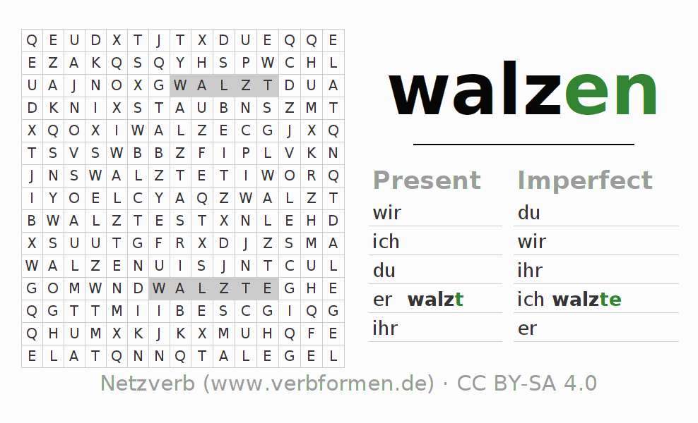 Word search puzzle for the conjugation of the verb walzen (ist)