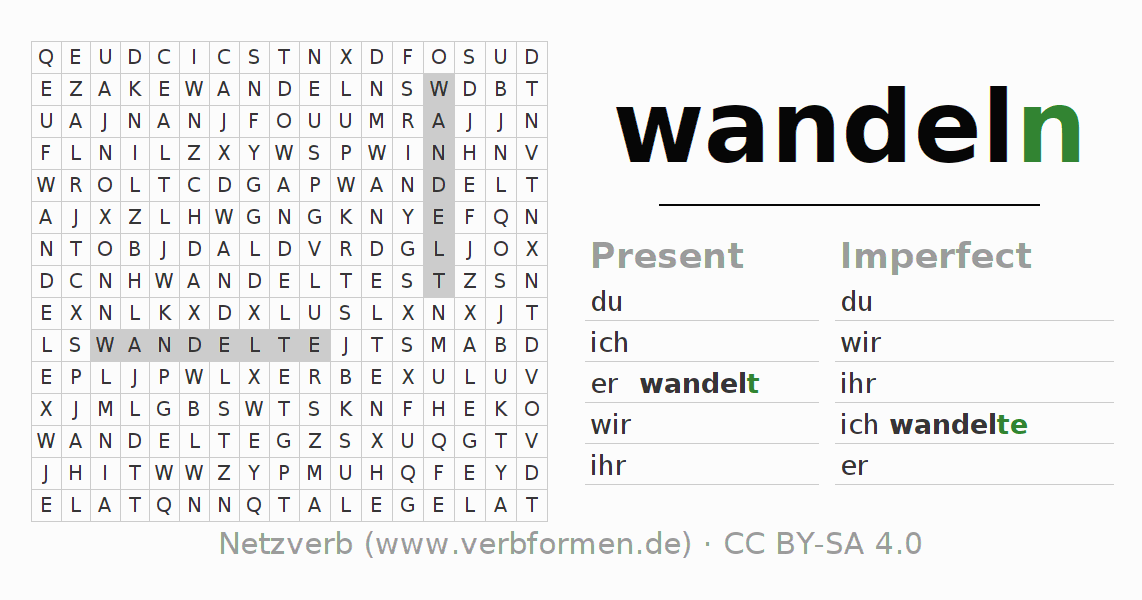 Word search puzzle for the conjugation of the verb wandeln (hat)