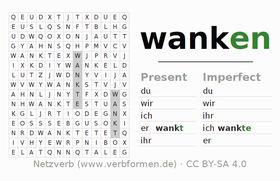 Word search puzzle for the conjugation of the verb wanken (ist)