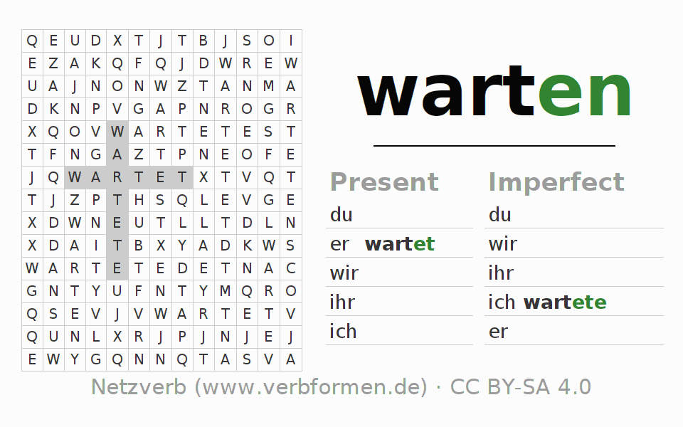 Word search puzzle for the conjugation of the verb warten