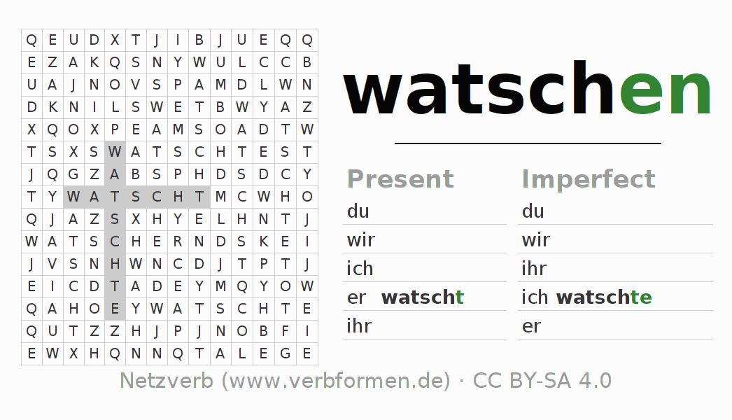 Word search puzzle for the conjugation of the verb watschen