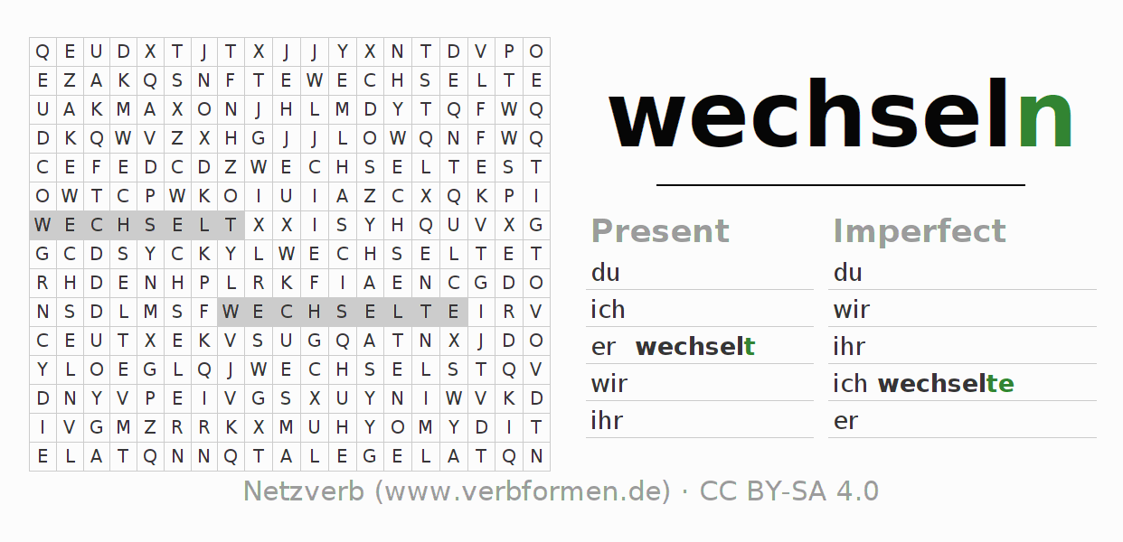 Word search puzzle for the conjugation of the verb wechseln (ist)