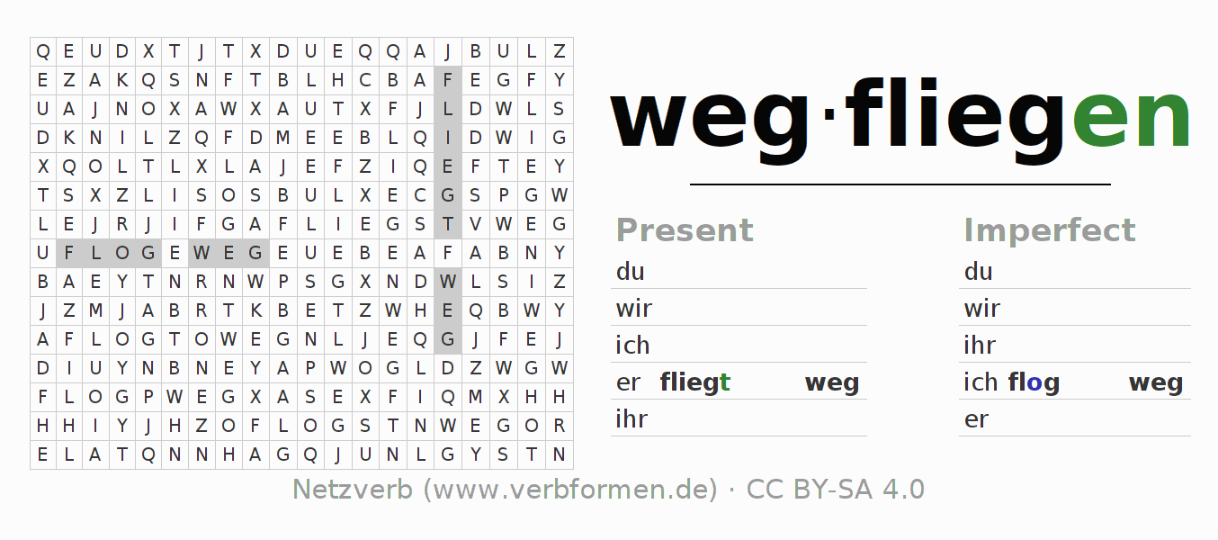Word search puzzle for the conjugation of the verb wegfliegen