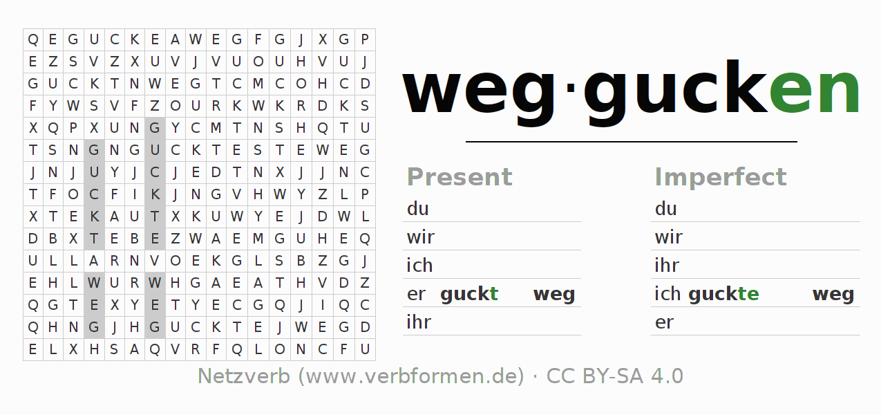 Word search puzzle for the conjugation of the verb weggucken