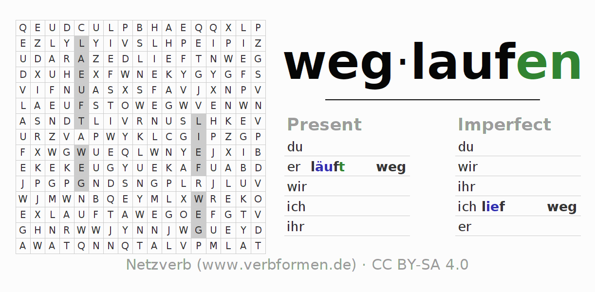 Word search puzzle for the conjugation of the verb weglaufen