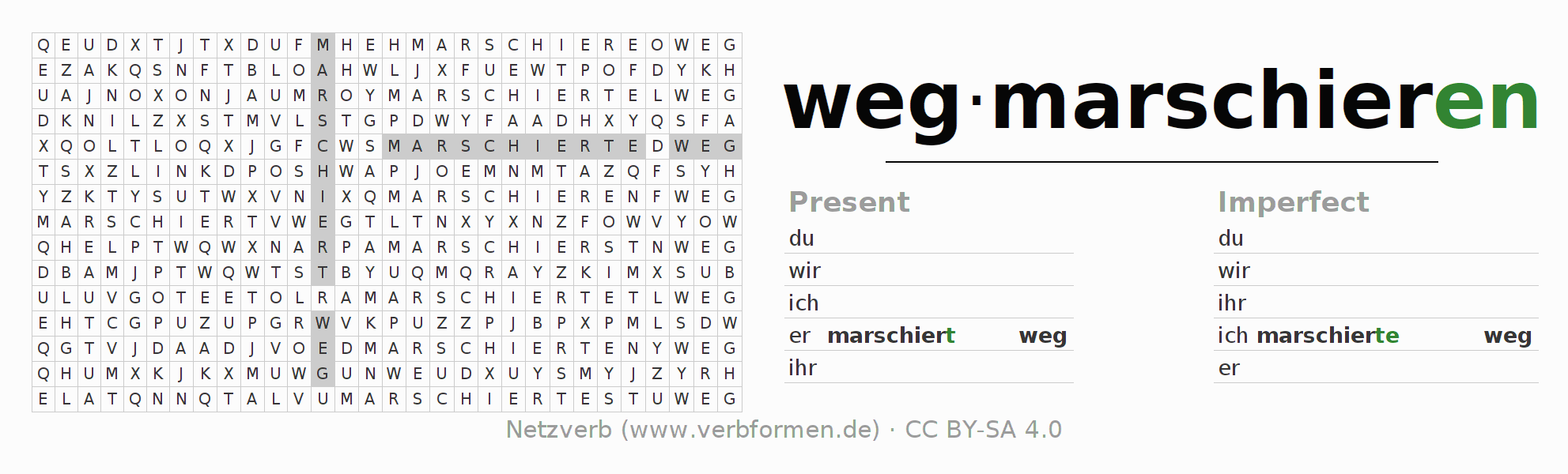 Word search puzzle for the conjugation of the verb wegmarschieren