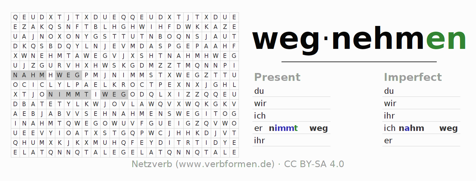 Word search puzzle for the conjugation of the verb wegnehmen