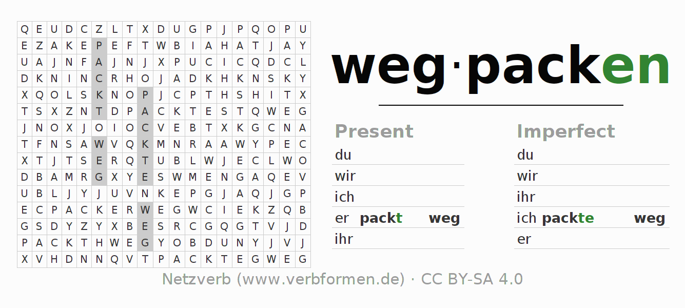 Word search puzzle for the conjugation of the verb wegpacken