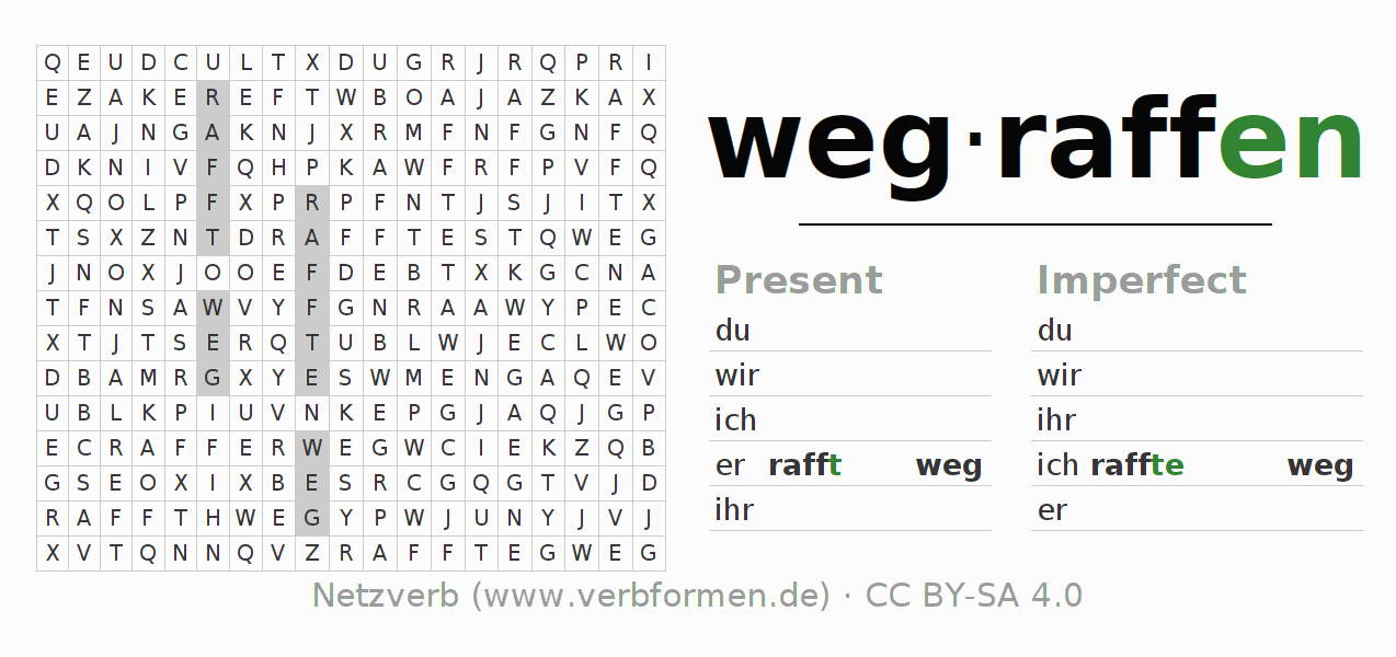 Word search puzzle for the conjugation of the verb wegraffen