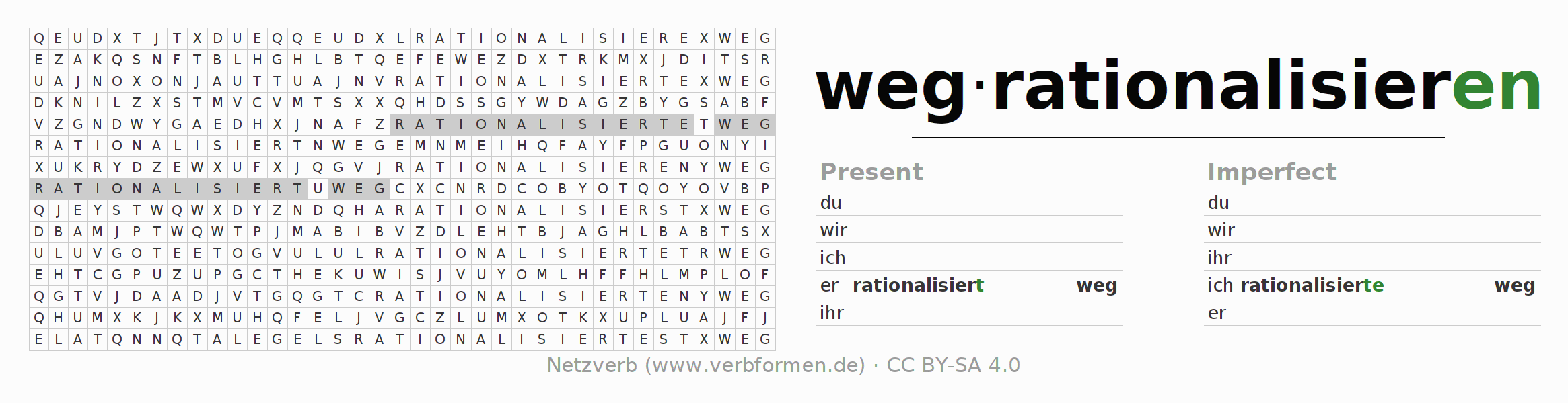 Word search puzzle for the conjugation of the verb wegrationalisieren