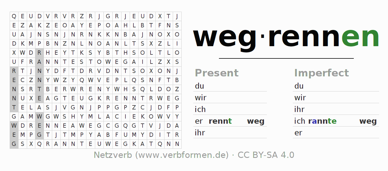 Word search puzzle for the conjugation of the verb wegrennen