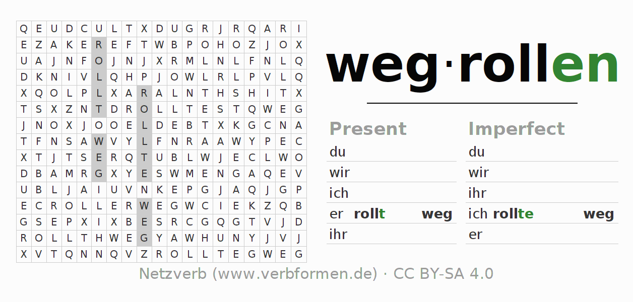 Word search puzzle for the conjugation of the verb wegrollen (hat)