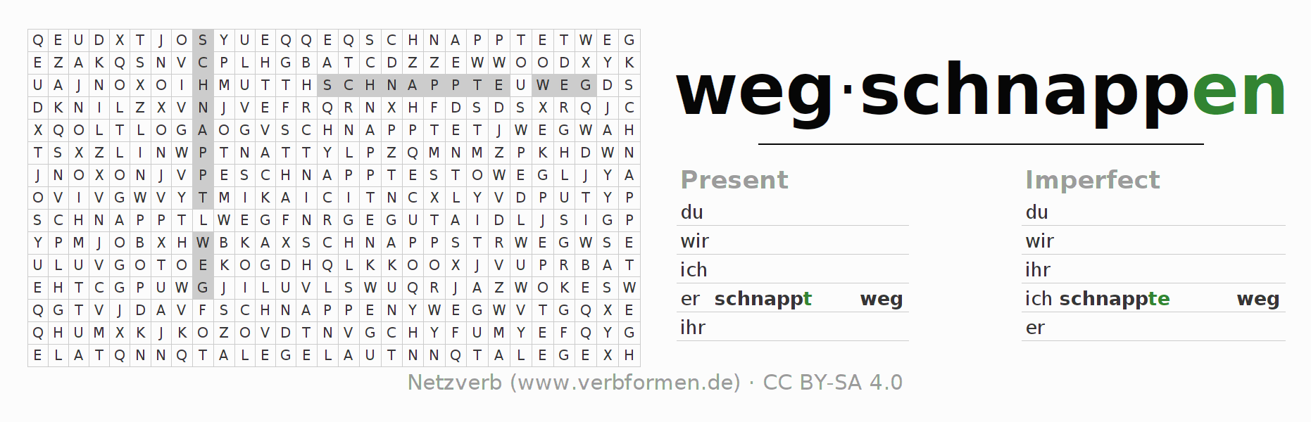 Word search puzzle for the conjugation of the verb wegschnappen
