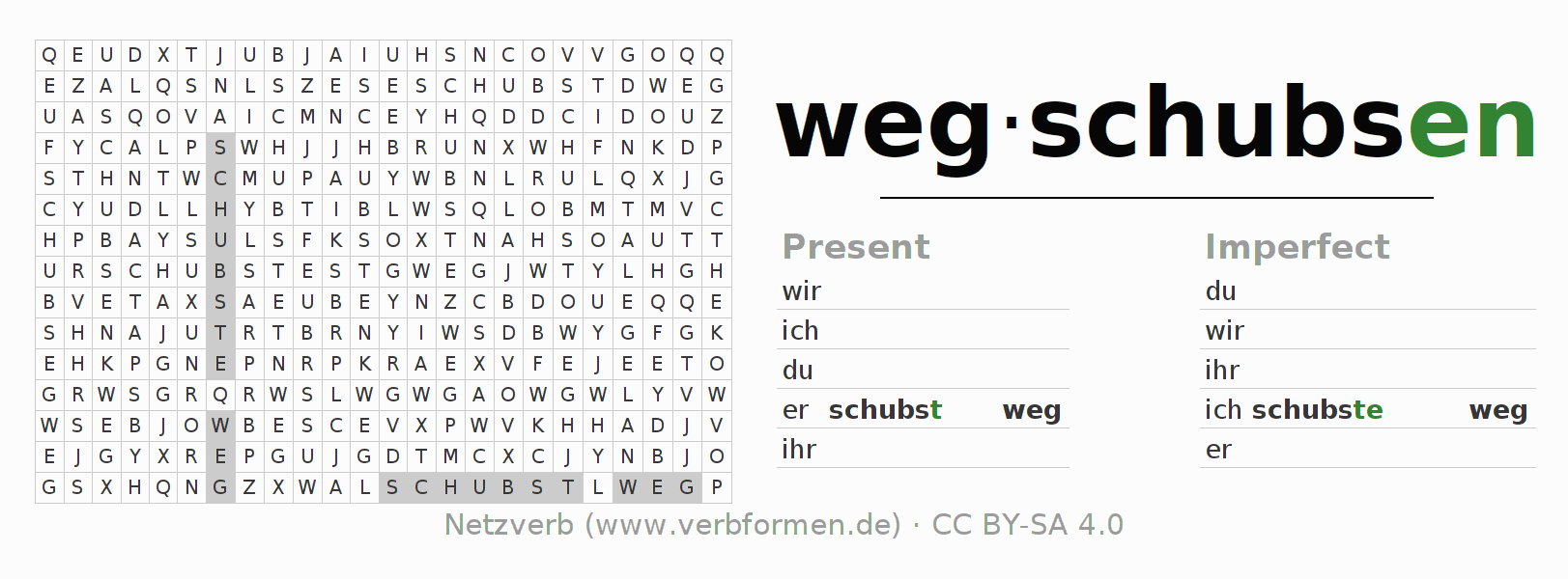 Word search puzzle for the conjugation of the verb wegschubsen