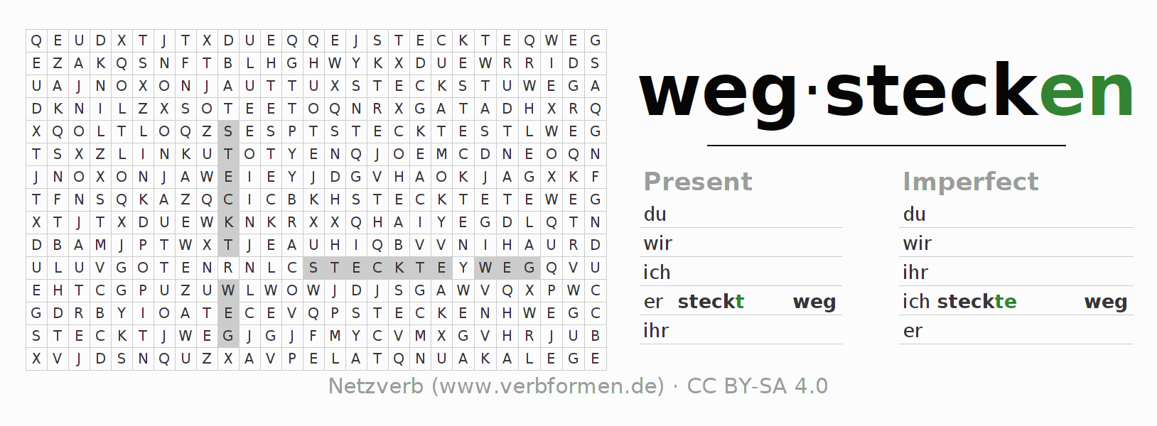 Word search puzzle for the conjugation of the verb wegstecken